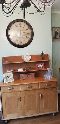 Ercol Furniture, table 6 chairs, dresser and glass cabinet