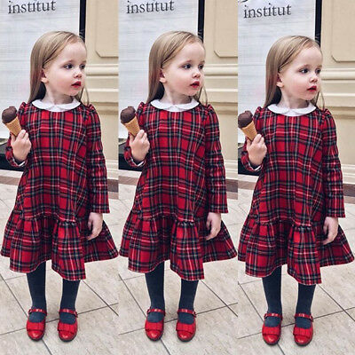 UK Christmas Toddler Kids Baby Girls Plaid Ruffle Party Pageant Dress Clothes