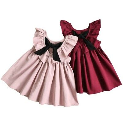 Toddler Baby Girl Summer Bowknot Dress Princess Party Pageant Tutu Sundress 1-6Y