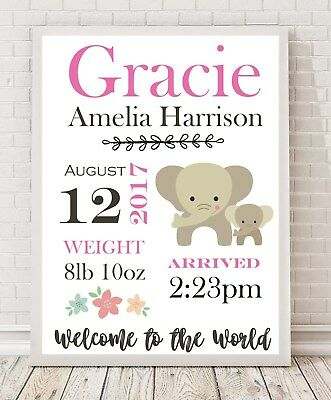 A4 Personalised Baby Gift/ Nursery/ Christening/ Birth Details Poster Print PO7