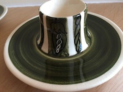 Two vintage Jersey Pottery Green Egg Cups