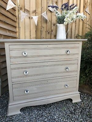 Vintage Shabby Chic Solid Pine Chest Drawers Annie Sloan French Linen & Crystals