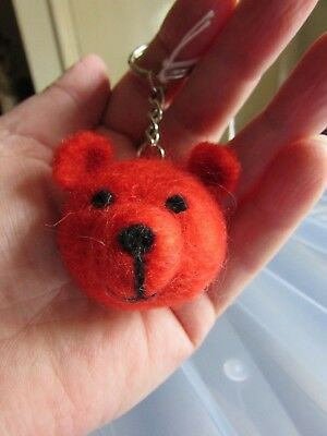 Needle Felted Teddy key ring OOAK Hand Crafted, Natural Wool