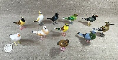 Collection Of 11 Vintage Hhec Of India Hand Crafted Painted Enamel ? Birds