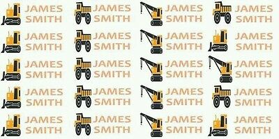 Construction Lunchbox school drink labels personalised Name Stickers pack of 24