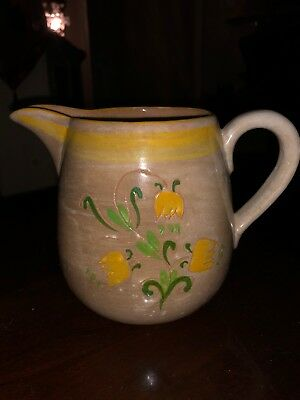 """Vintage Stangl Pottery 4 3/4"""" Pitcher in Tulip Yellow (Terra Rose Line)"""