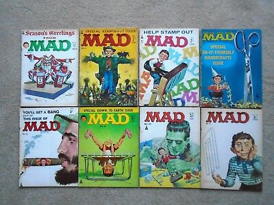 MAD MAGAZINE/COMIC UK x 8 early issues