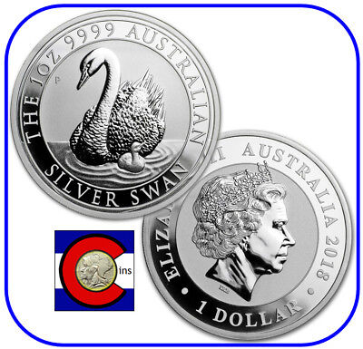 2018 Australia Silver Swan 1 oz Coin - BU direct from Perth Mint roll