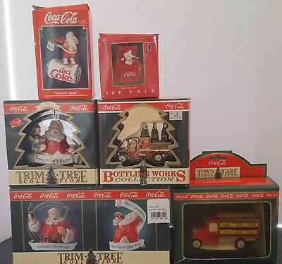 Vtg Lot of 5 Coca-Cola Christmas Ornament Santa 1992-1996