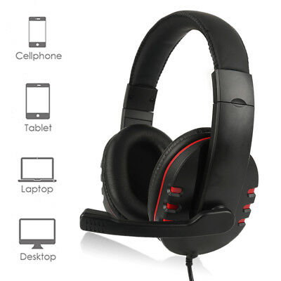Stereo Gaming Headset For PS4 Xbox One Bass Over-Ear Headphones With 3.5mm Mic