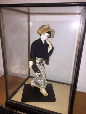 Japanese geisha doll in original wood and glass display cabinet; great condition