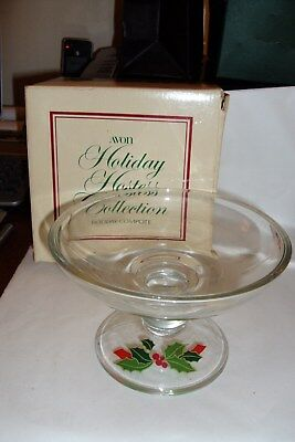 """Vintage 1981 Avon 6"""" HOLIDAY COMPOTE BOWL Christmas Holly Berry w/Org. Box"""