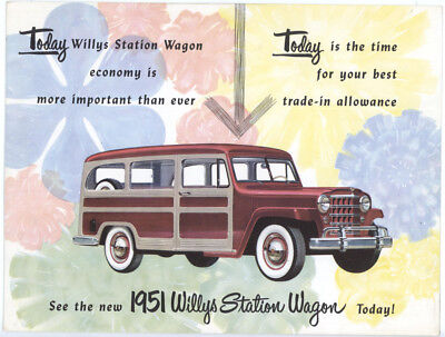 Large Vintage 1951 Willys Station Wagon Dealer Postcard,ryson Motors,dover,nj