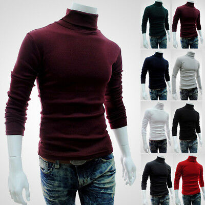 Mens Roll Neck Long Sleeve Cotton Tops Turtle Neck Basic T Shirts Jumper