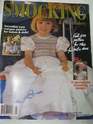 No.28 Australian Smocking & Embroidery Magazine pattern dress romper doll beaded