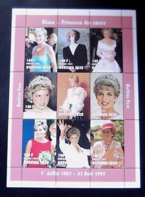 Burkino Faso-1997-2 Princess Diana Memorial Minisheets-MNH (2 Scans)