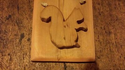 Antique reclaimed pine  plaque over 100 years old - squirrel - chic
