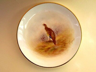 Excellent-Royal Worcester Hand Painted Grouse-Pin Dish-Signed L.maybury-1950