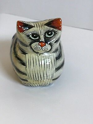 Kashmir Style Trinket Box Cat Paper Mâché Lacquer Made In India Orange Ears Nose