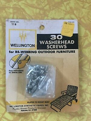 NIP Vintage RETRO 30 Washerhead Screws for Re-Webbing Outdoor Patio Furniture