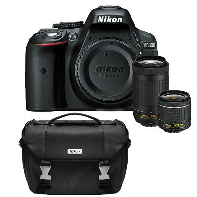 Nikon D5300 24.2 MP DSLR Camera w/AF-P 18-55mm VR&70-300mm Dual Lens&Case Bundle