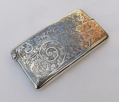 Fine Antique 1910 Solid Sterling Silver Card Case