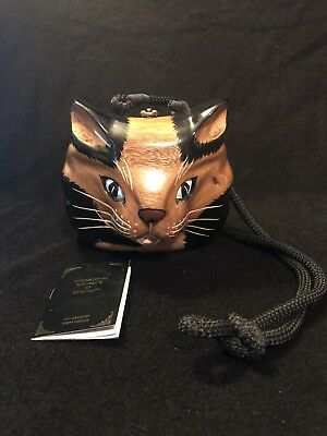 Vtg Timmy Woods Beverly Hills Wood Carved Kitty Cat Handbag Purse & Certificate
