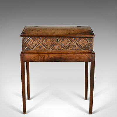 Antique Bible Box on Stand, English Oak Writing Slope 17th Century And Later