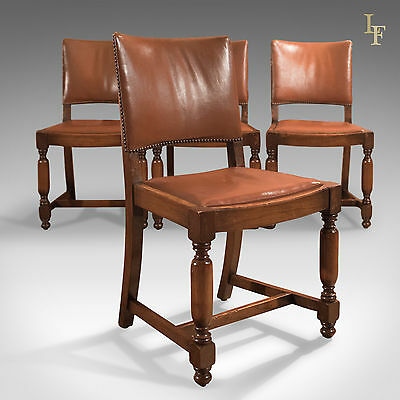 Set of Four, Antique, Dining Chairs, Edwardian, Oak, Leather Gothic Taste c.1910