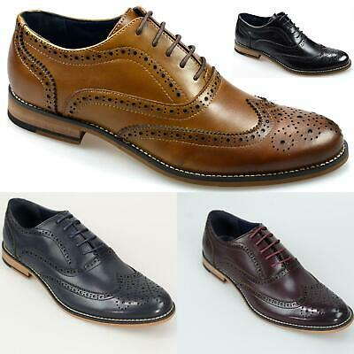 Mens Cavani Leather Formal Casual Lace Up Designer Wedding Work Brogue Shoes