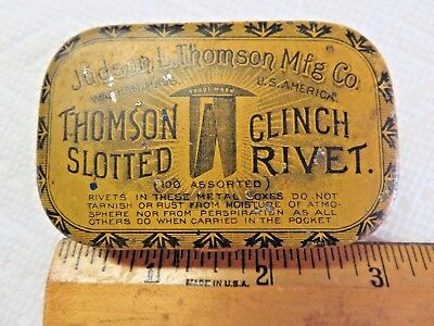 Old Advertising Tin Thomson Slotted Clinch Rivet Judson Thomson Waltham Mass