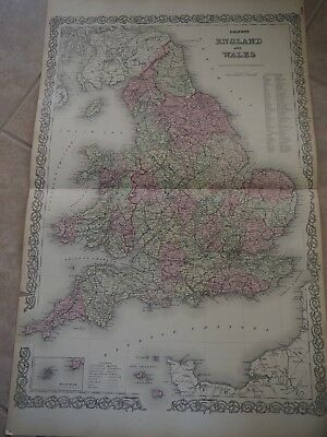 """Antique Map, """"Colton's England and Wales"""" Double Page"""