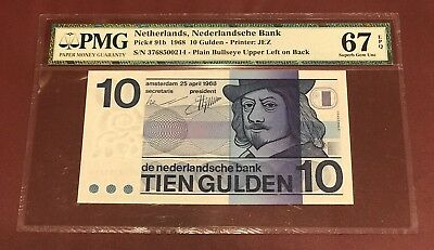 Netherlands 10 Gulden Bank Notes 1968 Duperb Gem Unc Pmg 67 Epq