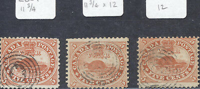 3 X Used 5¢ Beaver #15 with Perfs 11 3/4, 11 3/4 X 12 and 12