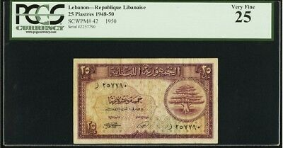 Lebanon 25 PIASTERS 1950 PCGS 25 French Colony Bank Note Rare Date Pick 42