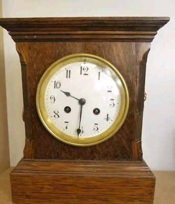 Stunning ANTIQUE  mantel clock with french movement , ticking away beautifully!