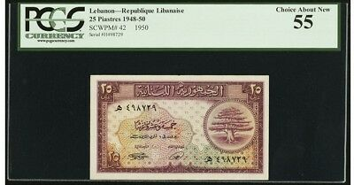Lebanon 25 PIASTERS 1950 PCGS 55 AUNC French Colony Bank Note Rare Date Pick 42