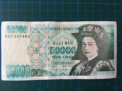 50000 Lirasi, Turkey, now with Queen Elisabeth II on the obverse 8/6