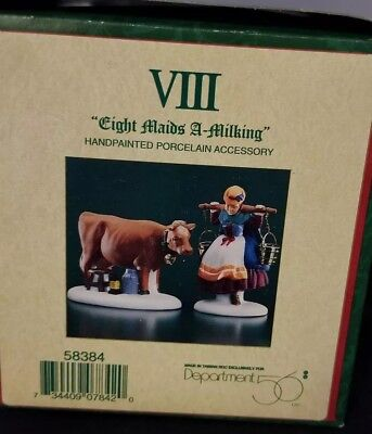 New Dept 56 12 Days of Christmas Dickens Village Eight (8) Maids A Milking 58384