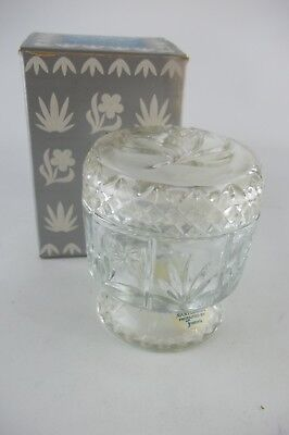 Vintage Avon FOSTORIA COMPOTE, Footed with Lid, Cut Glass, 1970's with Box