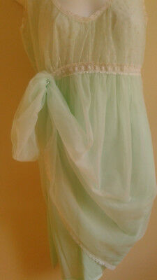 Vintage Nylon  Nightgown FRENCH MAID Canada Sz M Chiffon over Nylon pale mint