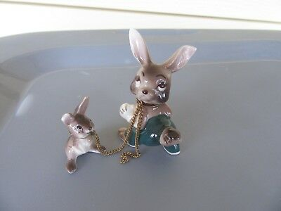 Vintage PORCELAIN RABBIT/BABY ON Chain - JAPAN-ONE MISSING