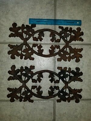 "Pair of antique oak leaf and acorn cast iron panels 17"" x 8 1/4"""