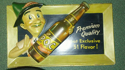 Vintage P.o.c. Non Lighted Store Display Beer Sign 3D Rare!!!