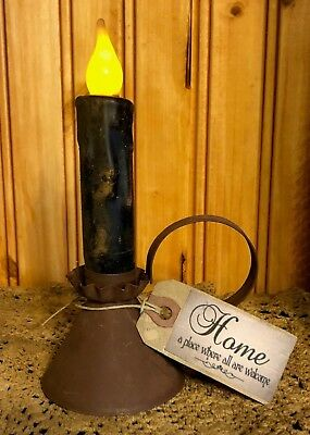 "PRIMITIVE DECOR  3"" Pyramid Shaped Rusty Taper Holder w/ Candle & Home Hang Tag"