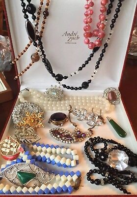 Job Lot Antique & Vintage Costume Jewellery Wear Repair Spare Necklace Brooch +