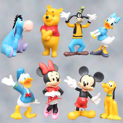 Micky Minnie Mouse Winnie Ther Pooh Donkey Luffy 8 PCS Action Figure Gift Toy US
