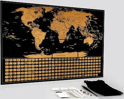 """World Scratch Off Map with Scratch Tools, Large Size Premium Wall Poster 22x16"""""""