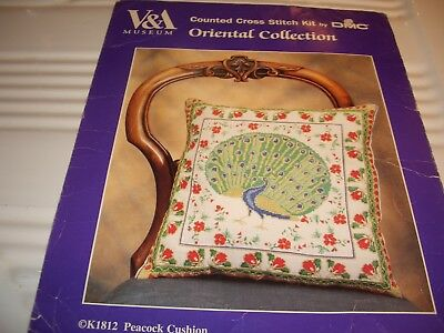 V & A Museum counted cross stitch kit peacock cushion 80% completed