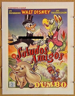 DUMBO, 1941 & SALUDOS AMIGOS, 1943, Scarce 1950s BELGIAN Poster - LINEN-BACKED